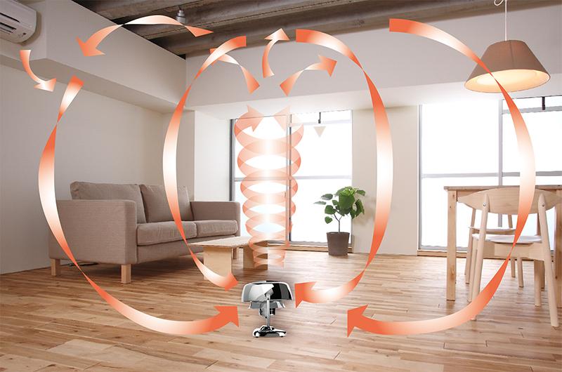 ボルネード・サーキュレーターなら、天井にたまった暖かい空気を室内全体に循環させて足元もほかほかに